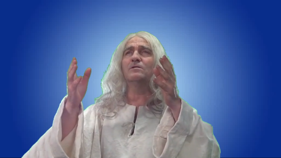 Bradley Walsh as God in Spamalot