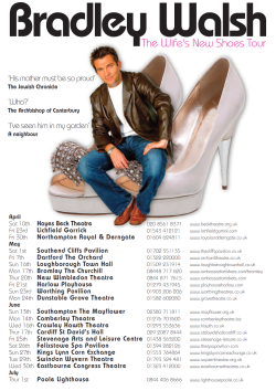 Handbill Bradley Walsh The Wife's New Shoes Tour